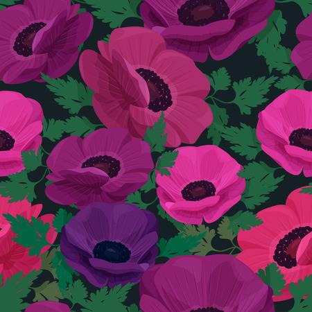 Patrón transparente de vector con flores de colores. Fondo de flor de anémona.