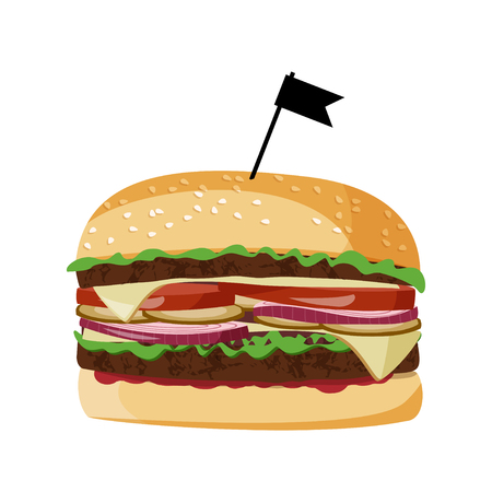 Fast food isolated on white background. Burger vector realistic illustration. Illustration
