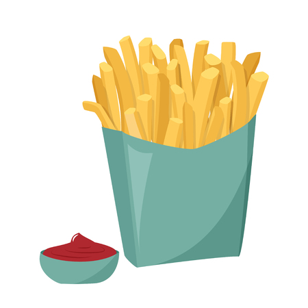 Vector realistic illustration. French fries with tomato sauce isolated on white background.