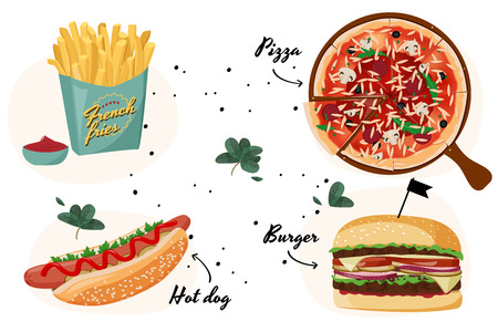 Vector realistic meal illustration. Fast food colorful collection. 일러스트