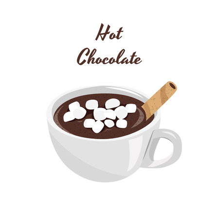 Realistic vector illustration. Hot chocolate with marshmallows in white cup.