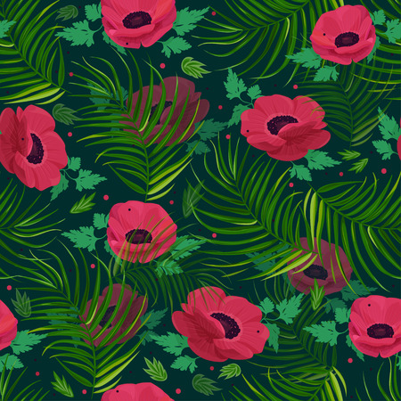 Seamless vector pattern with colorful flowers. Anemone flower background.