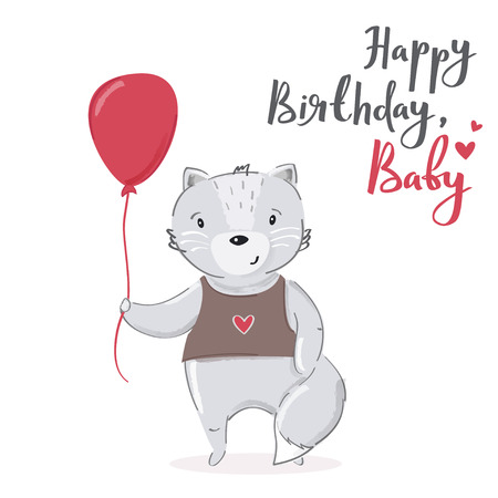 Happy birthday, baby cartoon card design. Cute grey cat character with red balloon vector illustration.