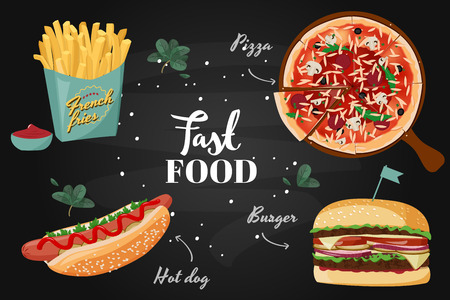 Vector realistic meal illustration. Fast food colorful collection. Standard-Bild - 122533136