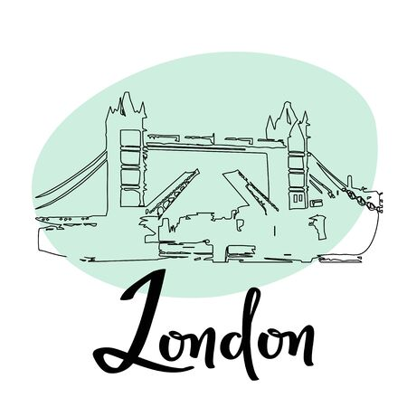 London town Tower Bridge sketch illustration. Vector simple doodle card with historical building.