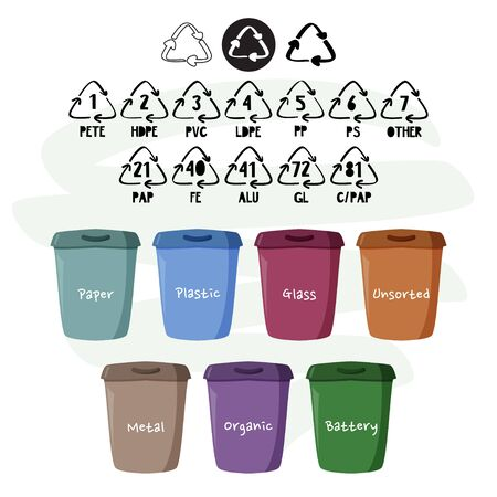 Containers for separate garbage collection. Reduce, reuse, recycle. Ecological vector illustration.