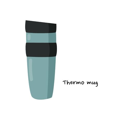 Simple green handle mug. Illustration