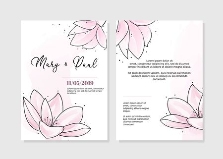 Wedding invitation. Two sides with tender pink hand drawn flowers.
