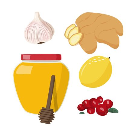 Healthy food. Flat vector illustration set of cold, sick, home treatment, flu season.