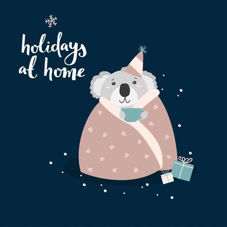 Coala bear celebrating Christmas at home. Cute vector cartoon character.