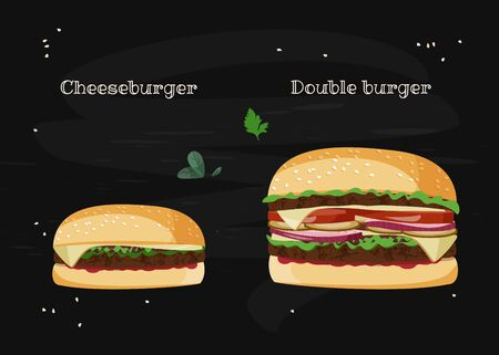 Cheeseburger and Double burger sandwiches. Realistic vector illustration on black background. Foto de archivo - 135055172