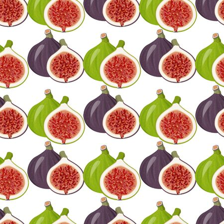 Food background. Seamless pattern with fresh figs whole and half.