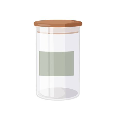 Kitchen eco friendly stuff. Glass jar with airtight seal wood lid and blank label.