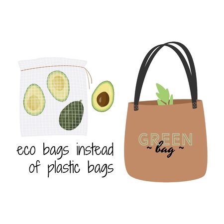 Textile eco bag vector illustration. Zero waste concept.