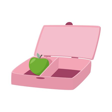Pink lunch box with apple inside. Zero waste concept.