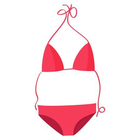 Pink bikini swimsuit vector illustration. Beach women swimming suit.