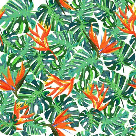Seamless pattern with exotic plants. Summer bright background. Ilustrace