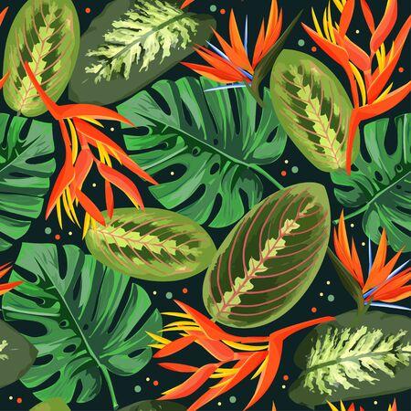 Heliconia and strelizia flowers vector illustration. Tropical orange plants background. Ilustrace