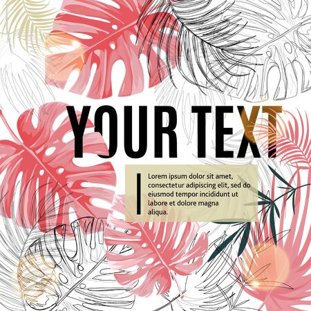Bright tropical design template. Text area with pink monstera leaves and sun flares. Ilustrace