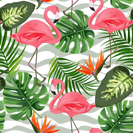 Tropical background with exotic plants and flamingo. Seamless pattern. Ilustrace