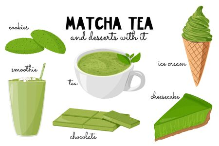 Sketch vector illustration isolated on white background. Hand drawn food with matcha green tea - ice cream, cake, drinks.