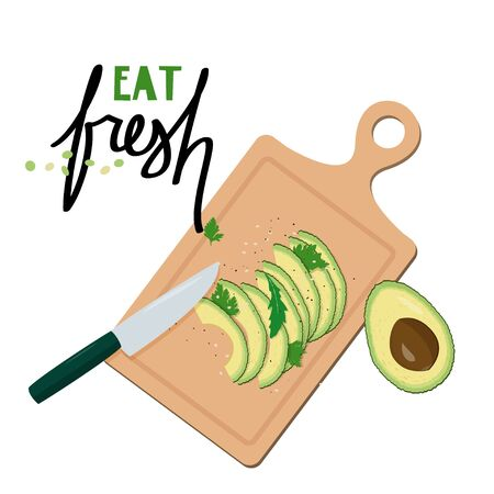Cutting board with slices of avocado. Simple vector illustration.