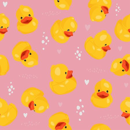 Yellow rubber duck seamless pattern. Fun kids background.