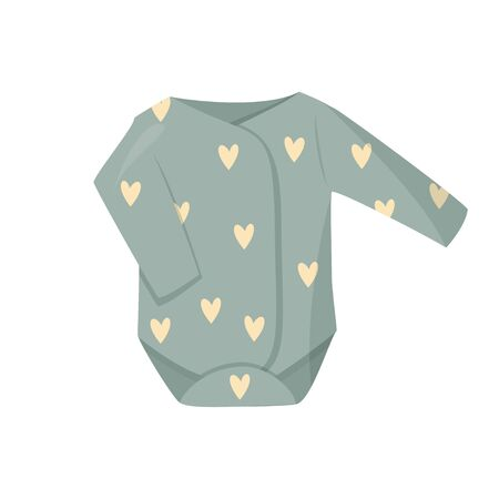 Isolated on white background. Cute green baby clothes illustration. Illustration