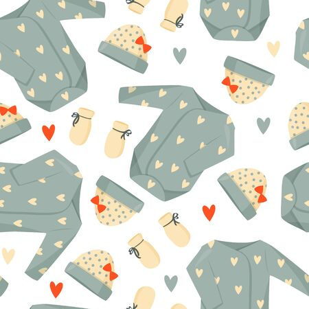 Cute green baby clothes background. Vector seamless pattern. Illustration