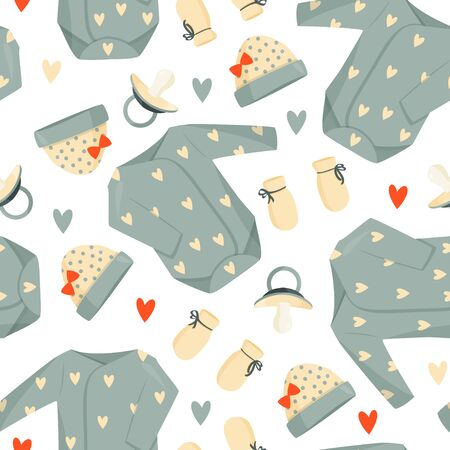 Cute green baby clothes and pacifier background. Vector seamless pattern.