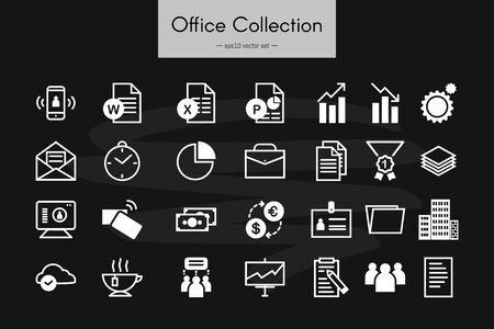 Various business, financial, office and web icons. Simple vector collection.