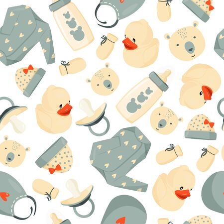 Seamless cute pattern of baby stuff. Simple baby background.