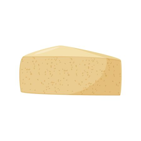 Vector illustration. Triangular piece of cheese, cheese realistic food.