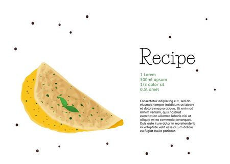 Food vector card design. Simple omelette recipe template.