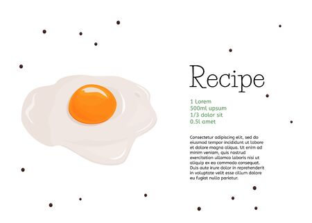 Food vector card design. Simple fried egg recipe template.