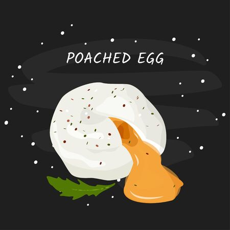 Poached egg vector meal illustration. Isolated on white background. Illustration