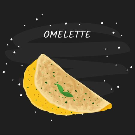 Omelette vector meal illustration. Isolated on white background.