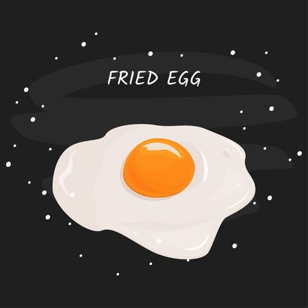 Fried egg vector meal illustration. Isolated on white background.