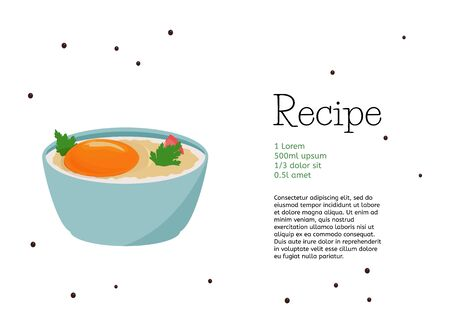 Simple cocotte egg recipe template. Food vector card design.