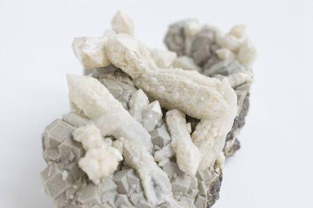 Natural Stone. Grey crystal. Close up photo.