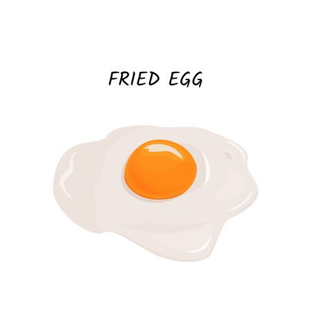 Isolated on white background. Fried egg vector meal illustration. 向量圖像