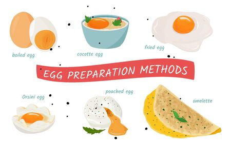 Set of meal preparing illustrations. Egg cooking in different ways. 向量圖像