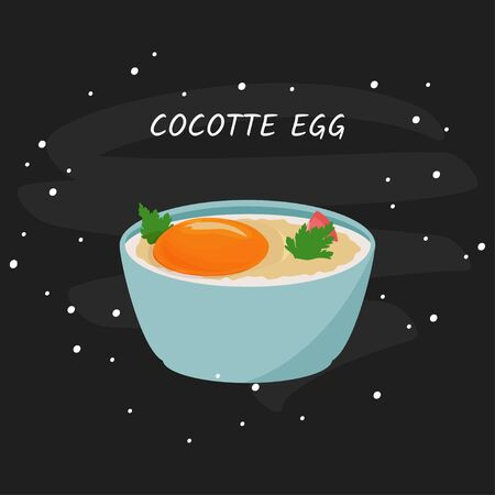 Cocotte egg vector illustration. Isolated on white background.