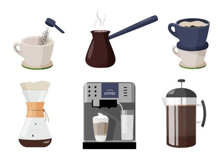 Few ways to make coffee. Different mays of coffee preparing. Coffee machine, coffee cup, french press, kemex, purover, cezve or ibrik. Coffee shop hand drawn collection .
