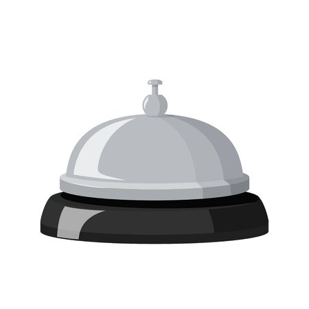 Vector illustration isolated on white background. Hotel metall bell with black base.