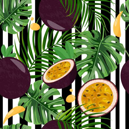 Tropical leaves and fruits background. Seamless pattern with whole passion fruit and half on white and black stripped background. Ilustración de vector