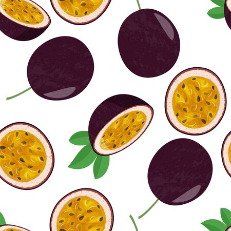 Tropical vegetarian food background. Seamless pattern with whole passion fruit and half on white background.