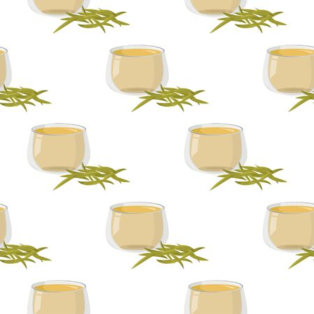 Simple graphic drinks background. Hot yellow chinese tea with a handful of dry tea seamless pattern.