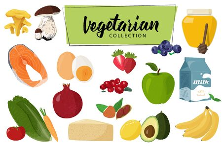 Collection of vector illustrations. Set of vegetarian food.