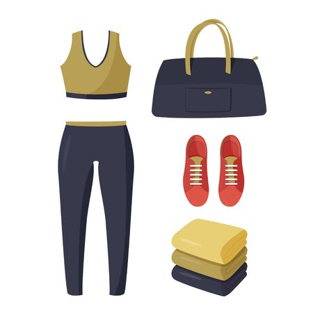 Simple vector illustration isolated on white background. Women tight-fitting sport suit, red sneakers, dark blue bag and stack of towels. Ilustração